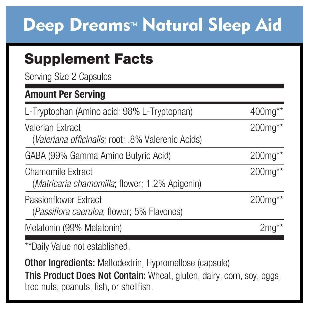 Deep Dreams Natural Sleep Aid by DailyNutra - Deep, Restful Sleep Supplement - Non-Habit Forming Sleeping Pills | with Melatonin, L-Tryptophan, Valerian, GABA, Chamomile, Passionflower