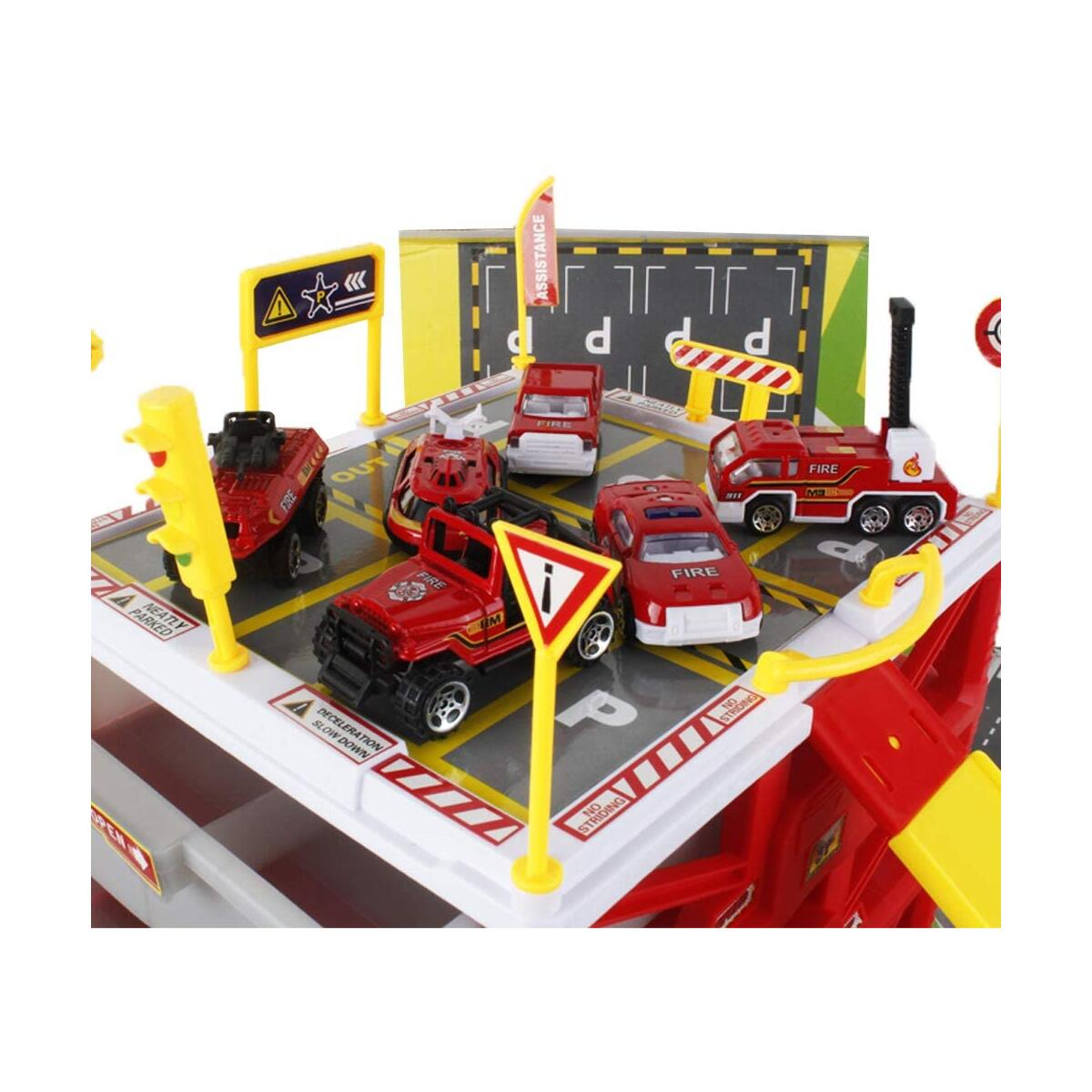 Happytime Parking Lot Car Garage Playset Vehicle Storage Box Play Construction Truck Toys Set Educational Gift with 6 Alloy Die-cast Cars, Ramps, Traffic Signs for Kid Toddlers