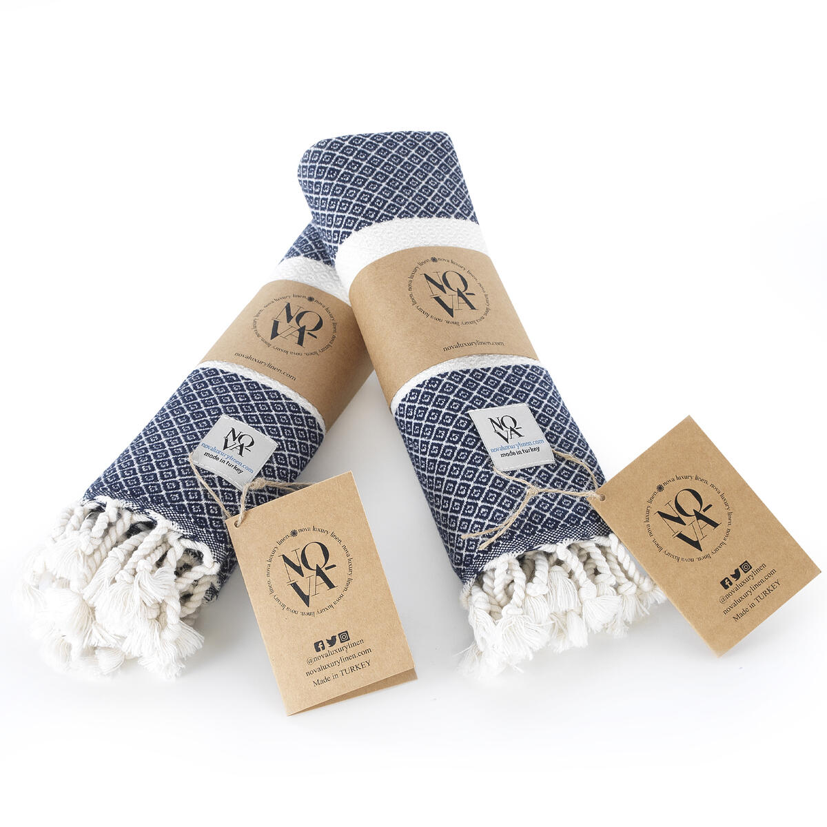 Nova Turkish Hand Towel - Set of 2 Turkish Hand Towels for Bathroom, Gym, Kitchen, SPA - Extra Soft Cotton Towels for Hands and Face - 16 x 40-inch Decorative Peshtemal - Tassel Hand Towels