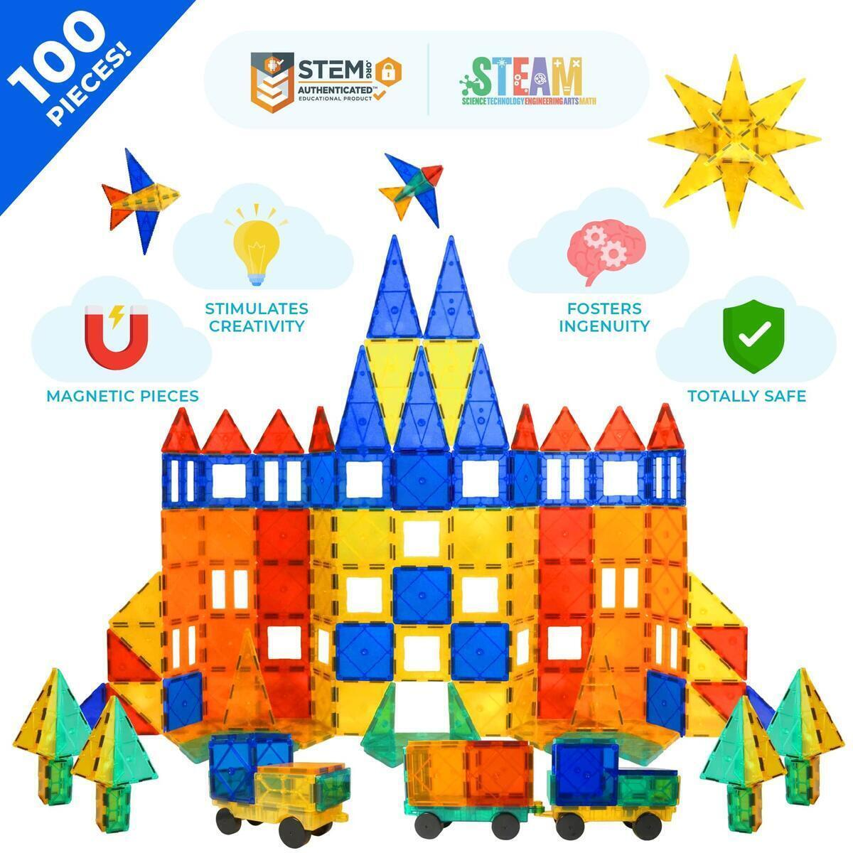 Tytan Tiles Magnets For Kids & Building Toys - STEM Certified Magnetic Blocks Set For Boys/Girls Fun, Creative, Educational - 100 Piece Set