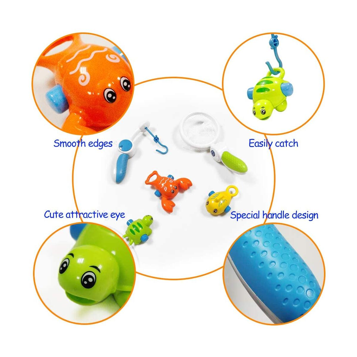 WISHTIME Baby Bath Toys, Fishing Floating Squirts Toy with Cute Ocean Animals Bath Squirters and Fishing Net, Water Toys for Kids, Birthday Gifts for Boys & Girls