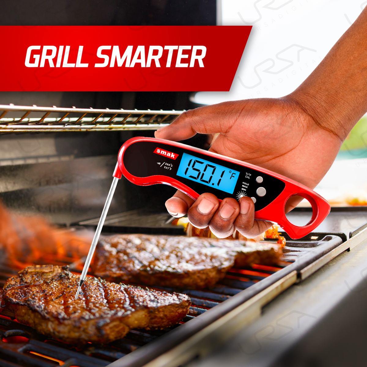 Digital Instant Read Meat Thermometer - Smak Waterproof Kitchen Food Cooking Thermometer with Backlight LCD - Best Super Fast Electric Meat Thermometer Probe for BBQ Grilling Smoker Baking Turkey (Chilli)