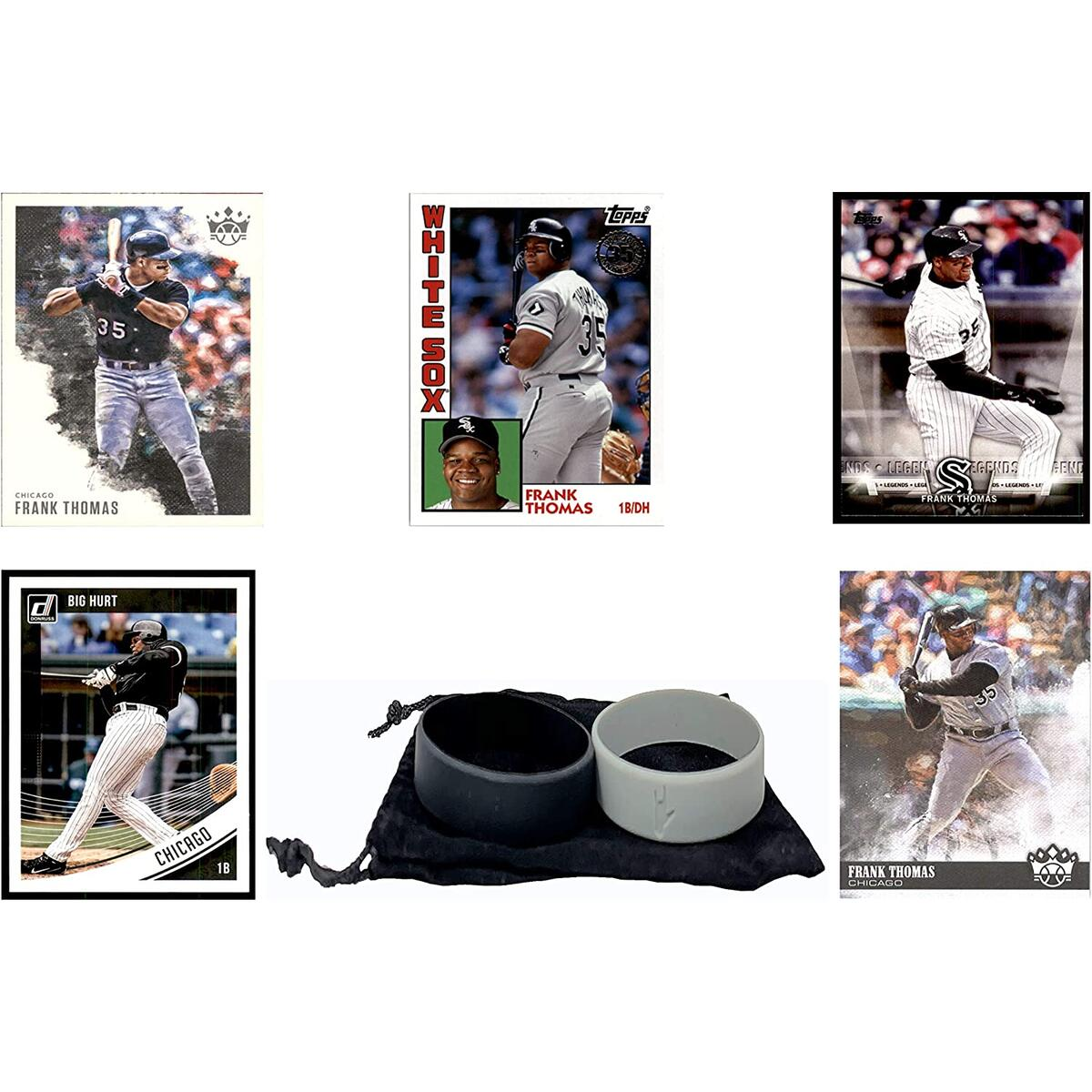 Frank Thomas Baseball Cards (5) ASSORTED Chicago White Sox Trading Card and Wristbands Gift Bundle