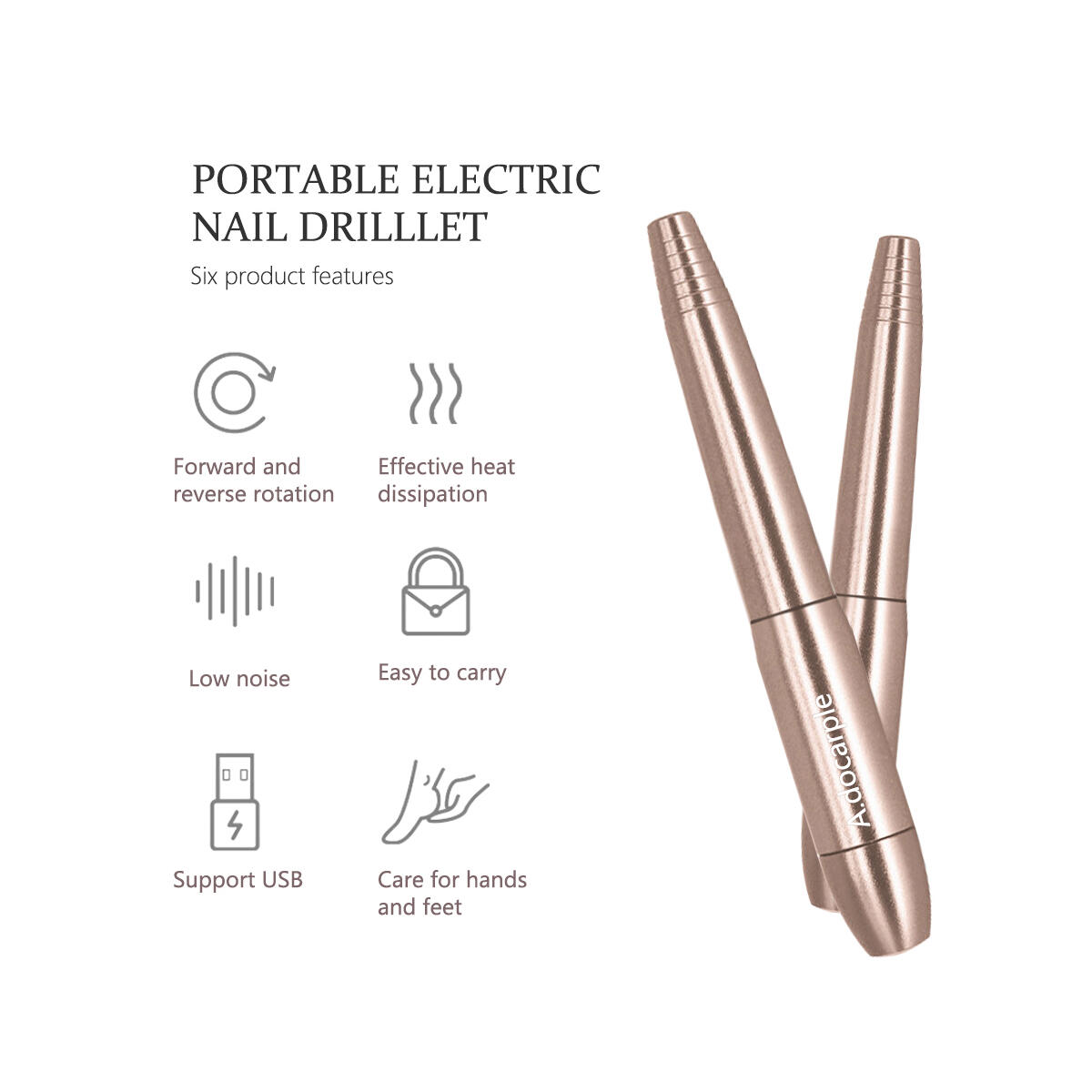 Electric Nail Drill - Portable Nail Drill Machine for Acrylic Nails, Nails Gel 20,000RPM Electric Nail File Manicure Pedicure Polishing Shape Tools with 11Pcs Nail Drill Bits and 16 Sanding Bands