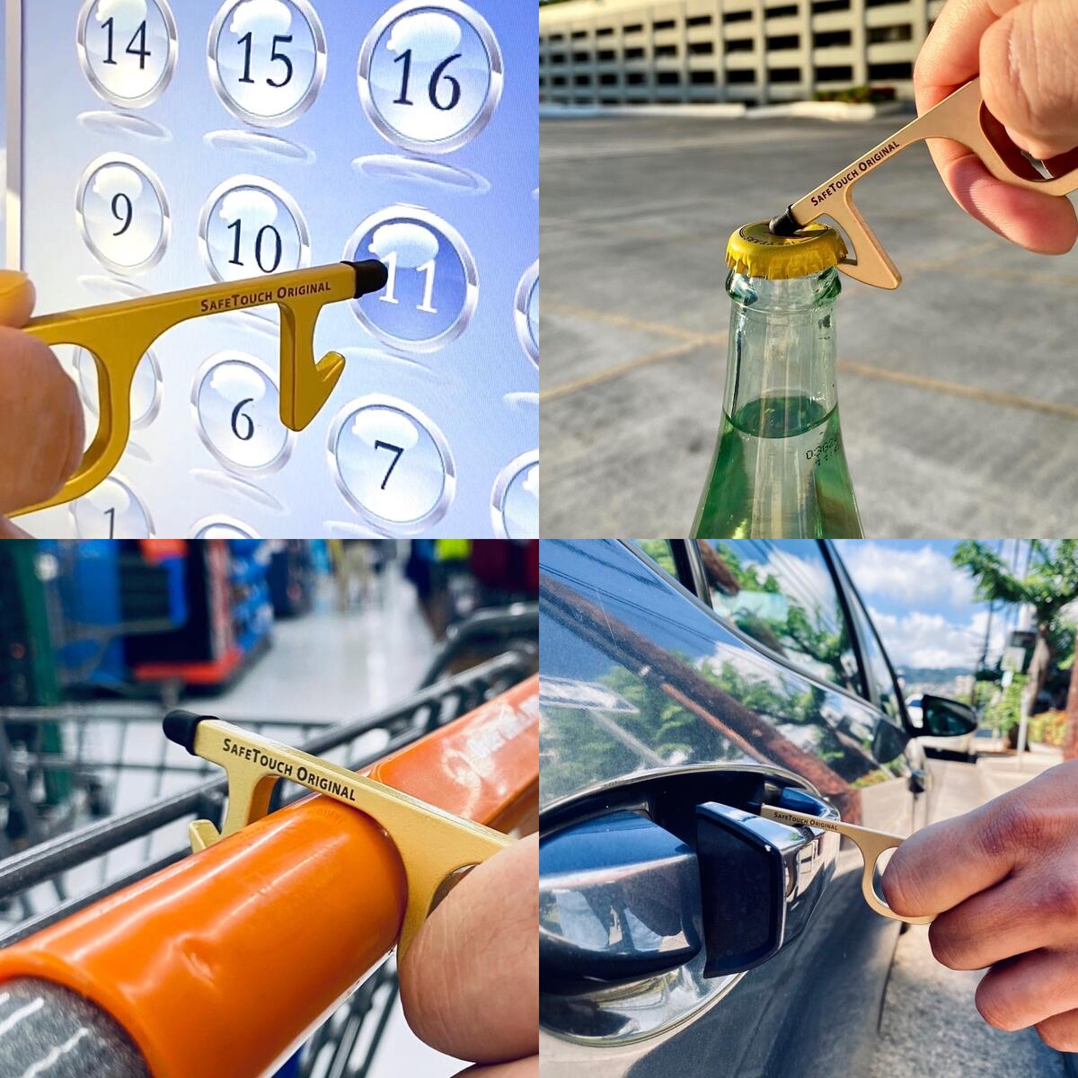No Touch Door Opener Tool Kit with Fixed Stylus Tip - Premium Solid Brass Keychain Bottle Opener Tool and Button Pusher + Retractable Spring Hook - Copper Touchless Door Opener Tool - Free Gift Box