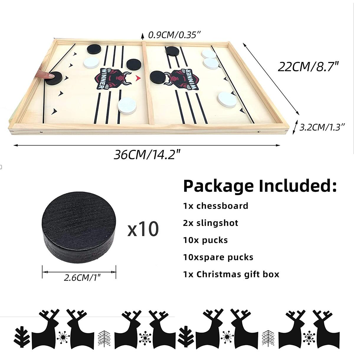 Daniel's Fast Sling Puck Game-Foosball Winner Board Game for Holiday Surprise -Speed Puck Game for Family Fun Night-Small Size Sling Hockey Table Game for Any Ages (14