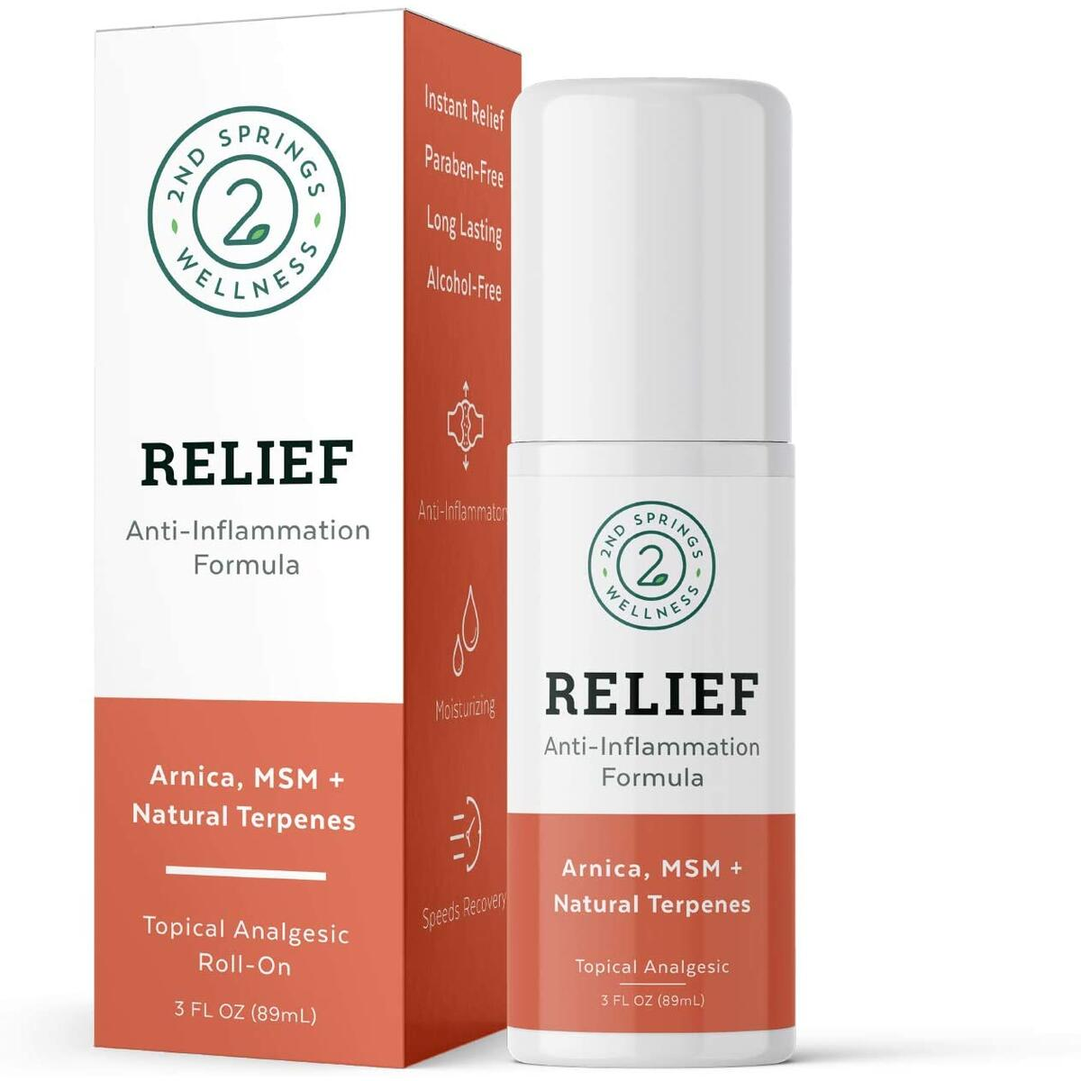 2nd Springs Relief Anti-Inflammation Formula Roll On Topical Pain Reliever Analgesic with Arnica Montana, MSM, Proprietary Terpene Blend, Vitamin E, Selenium, and Glucosamine - 3oz Roller