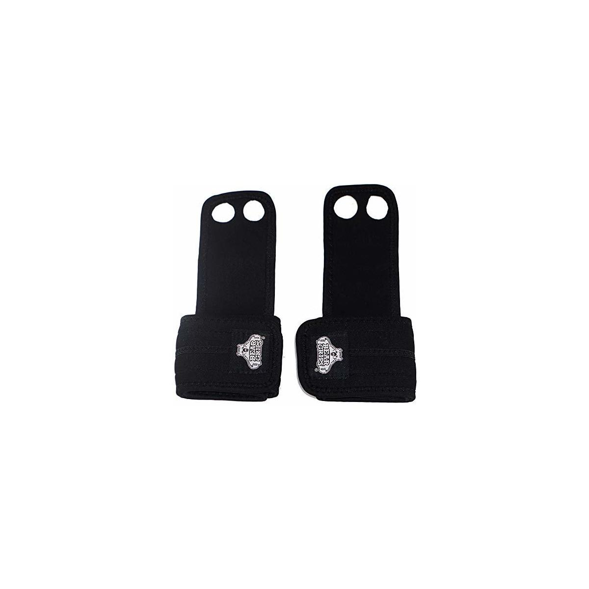 Bear Grips Two Hole Gymnastics Hand Grips. W/Added Wrist Protection, Suede Leather Palm, Ideal for Crossfit WOD, Pull ups, T2B, Rings, Barbell Lifting. Men & Women. Color Black. Size XS-XL