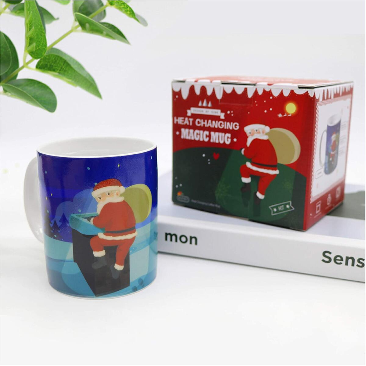 OJBK Heat Changing Coffee Mug - Add Coffee or Tea You Will Find It is Actually The Santa Clause Who Climbed The Pipe,Not The Thief - 11 Ounce Funny Coffee Mug - Perfect Christmas Gift with Fun Box
