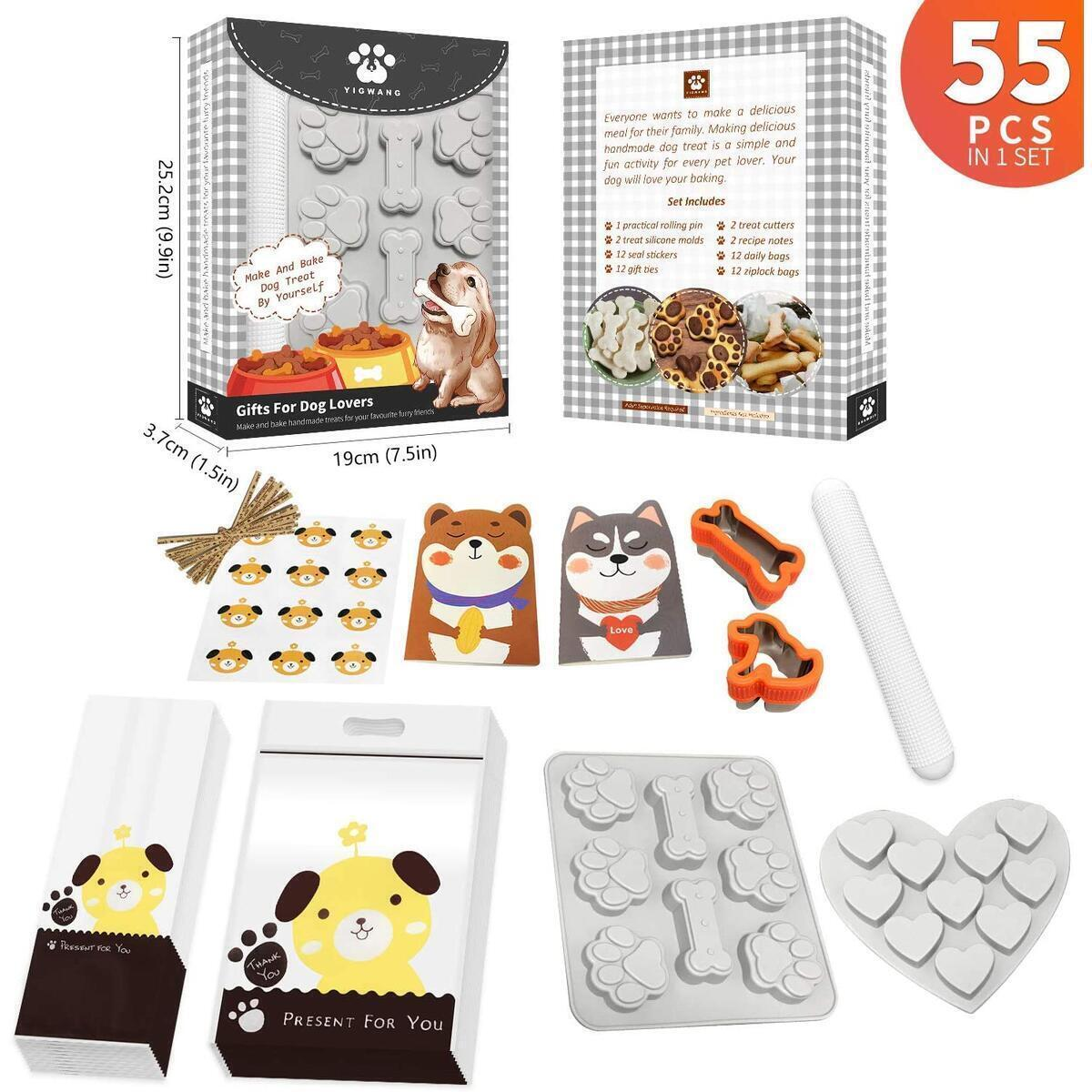 YIGWANG Dog Bone Cookie Cutter, Dog Cookie Cutters for Treats and Dog Treat Molds Kit, 55 Pcs in 1 Kit, Dog Lovers Gifts, including 2 Dog Treat Cutters, 1 Dog Paw Silicone Molds, 24 Dog Treat Bags.Etc