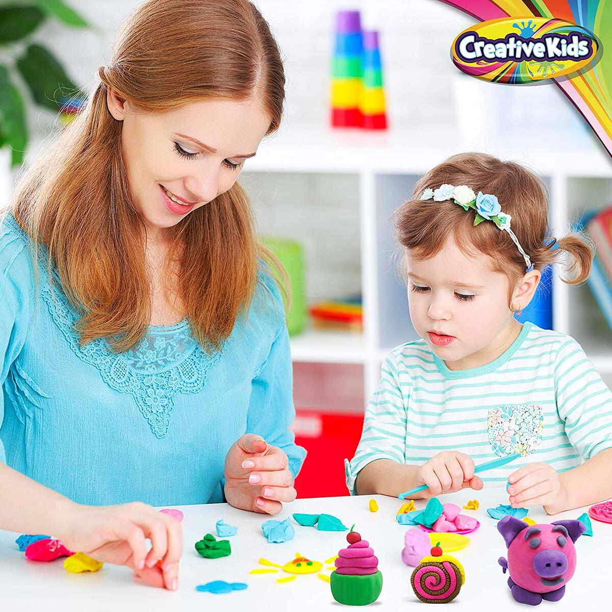 Creative Kids Air Dry Clay Modeling Crafts Kit - Pack Of 50 With Storage