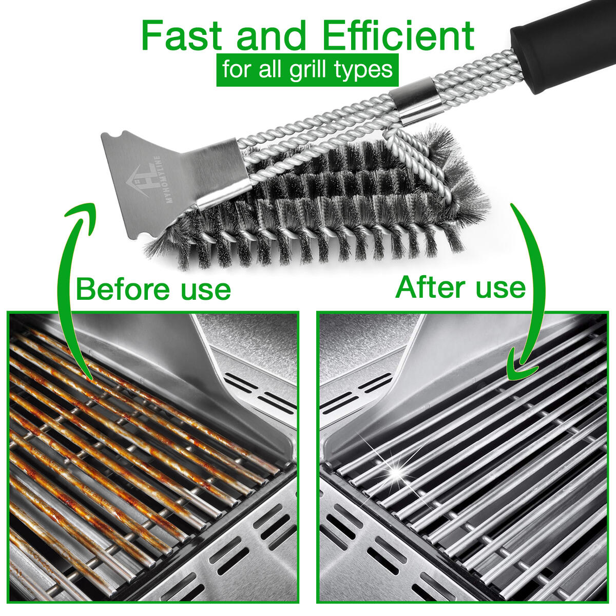 BBQ Grill Brush and Scraper - Heavy Duty Barbecue Grill Brush for Weber, Gas, Charcoal, Iron, Porcelain, All Grilling Grates - Safe Stainless Steel 18 Inch BBQ Brush with Grill Scraper