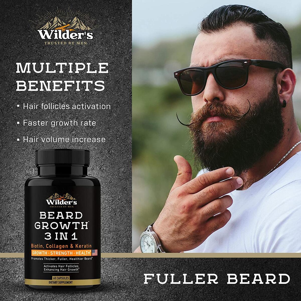 Mens Beard Growth Pills - Thin & Patchy Beard Enhancement Supplement - Made in USA - 60 Capsules - MSM, Biotin, Collagen, Keratin Beard Vitamins - Facial Hair Growth Supplement - Beard Pills for Men