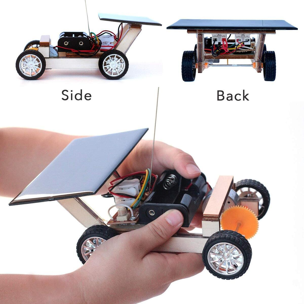 Pica Toys Wooden Solar and Wireless Remote Control Car Robotics Creative Engineering Circuit Science Stem Building Kit - Hybird Power For Electric Motor - DIY Experiment For Kids, Teens and Adults