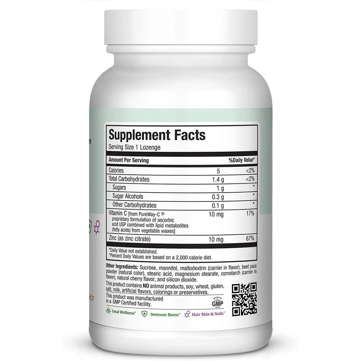 Zinc Lozenges - Zinc Citrate 10mg - with Vitamin C - Cherry Flavor
