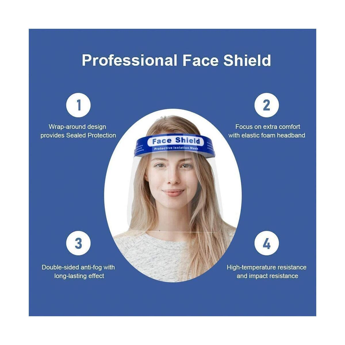 Face Shield - Plastic Face Shield, Protect Eyes and Face, Anti-Fog Work Industry Facial Cover for Men and Women, Safety Full Face Shields (4 Pack)