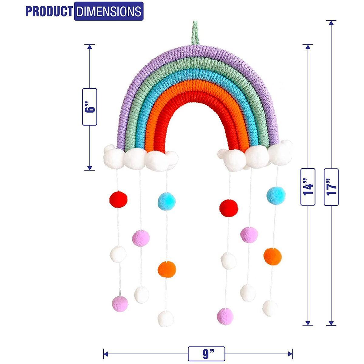 TheFamShop Macrame Rainbow Wall Hanging for Nursery, Dorm Room, Baby Shower, Classroom, Girls Room, Baby Room, Baby Shower, Birthday Party, Wedding, Boho Pom Pom Garland Home Décor
