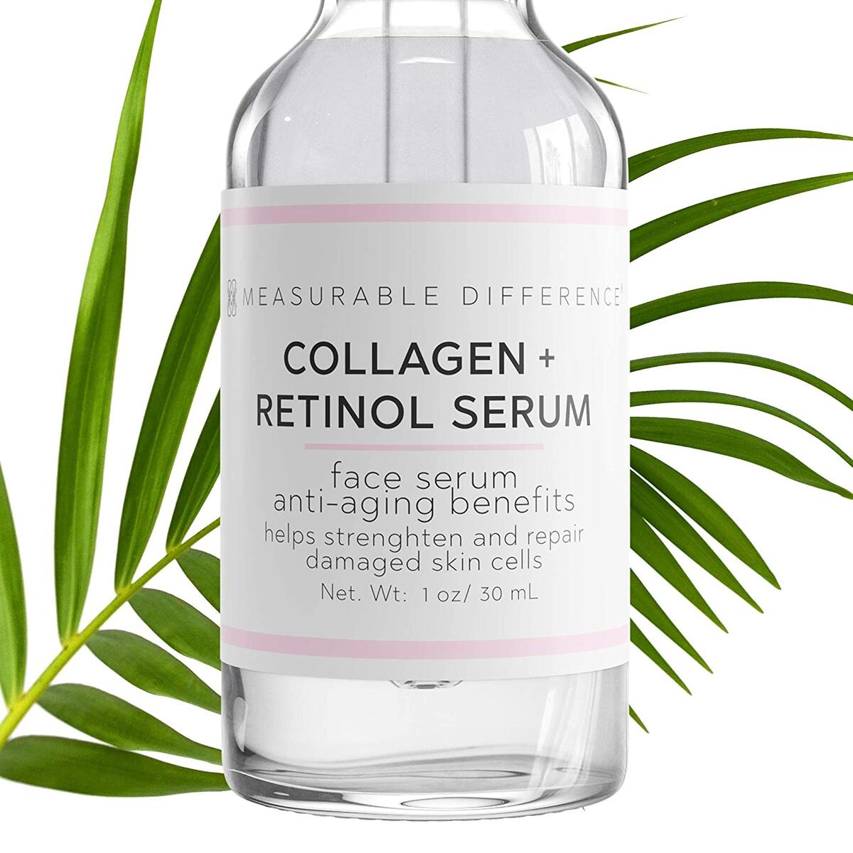 Measurable Difference Collagen Retinol Serum, Anti-Aging Facial Serum for Wrinkles, Fine Lines, Pure Anti-Wrinkle Face Serum In Pump Bottle for Restoring Skin Elasticity, Reducing Acne, 1 Oz