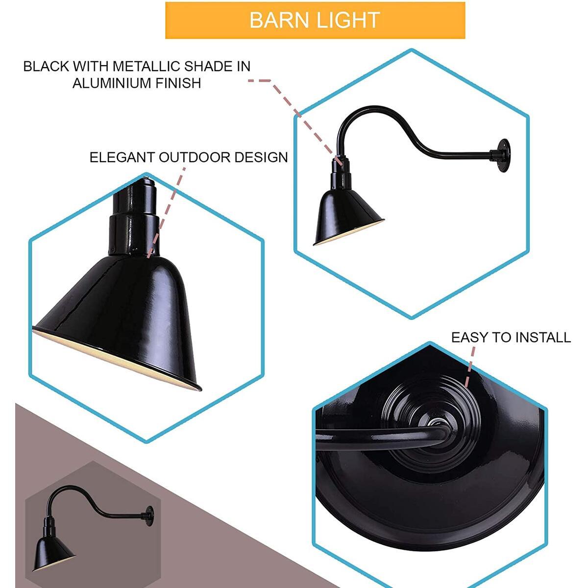 10 Inch Outdoor Aluminum Barn Light - 2 Pack