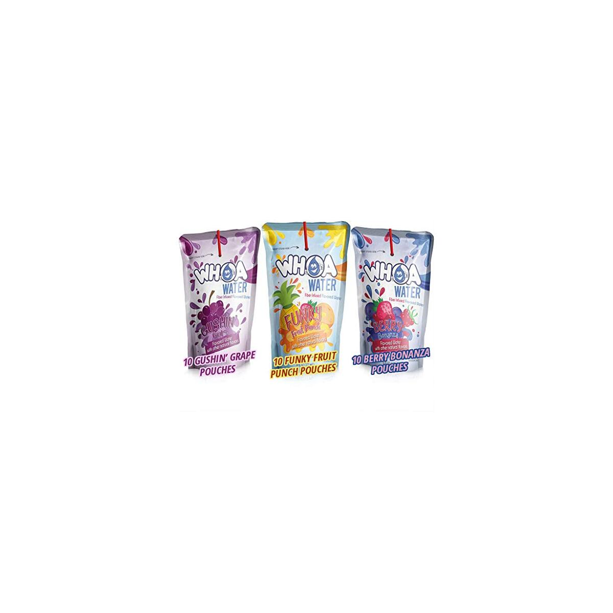 CRAZY 75% TODAY ONLY (limited supply, super yummy)!  WHOA No Sugar Kids Flavored Water (30 Variety Pack) - 10 'Easy to Use' Pouches of Gushin Grape, Fruit Punch, Berry Bonanza that Kids Love, Fiber Infused, Zero Artificial Sweeteners, Gluten Free, Vegan