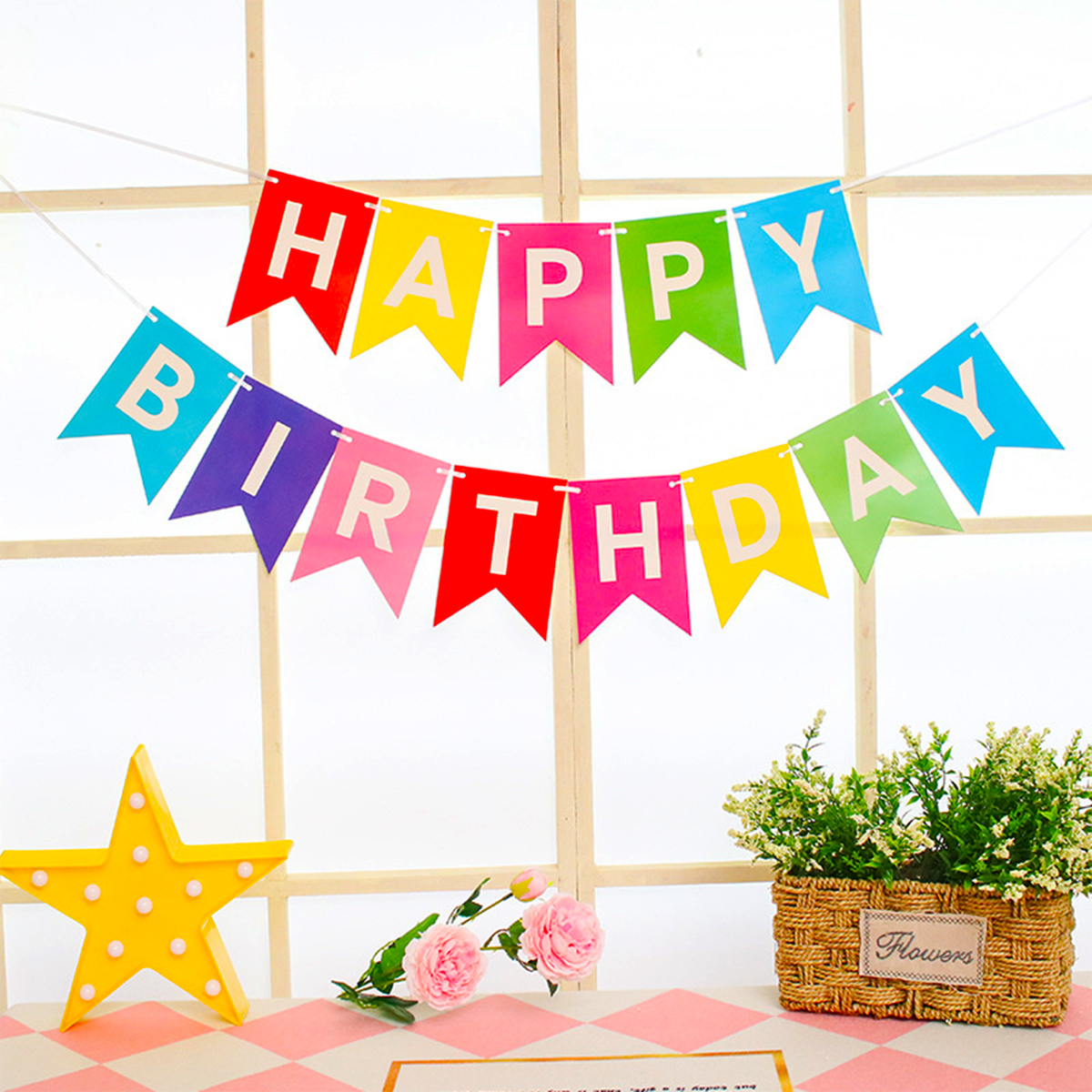 Rainbow Birthday Party Decorations Supplies PREMIUM Set Colorful Happy Bday Banner | Kids Fiesta Cumpleaños Decoracion Colored Balloons Girls Boys | Unicorn Carnival Pom Poms Circle Triangle Bunting