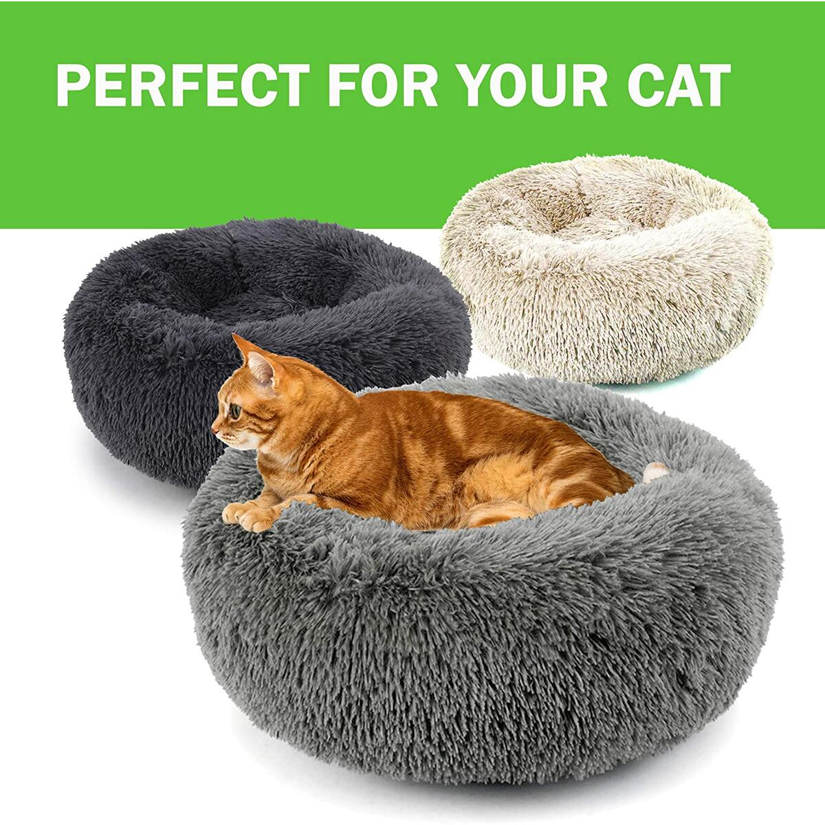 Marshmallow Cat Bed for Indoor Cats - Calming Cat Bed for Small and Large Cats (24 Inches, Cream)