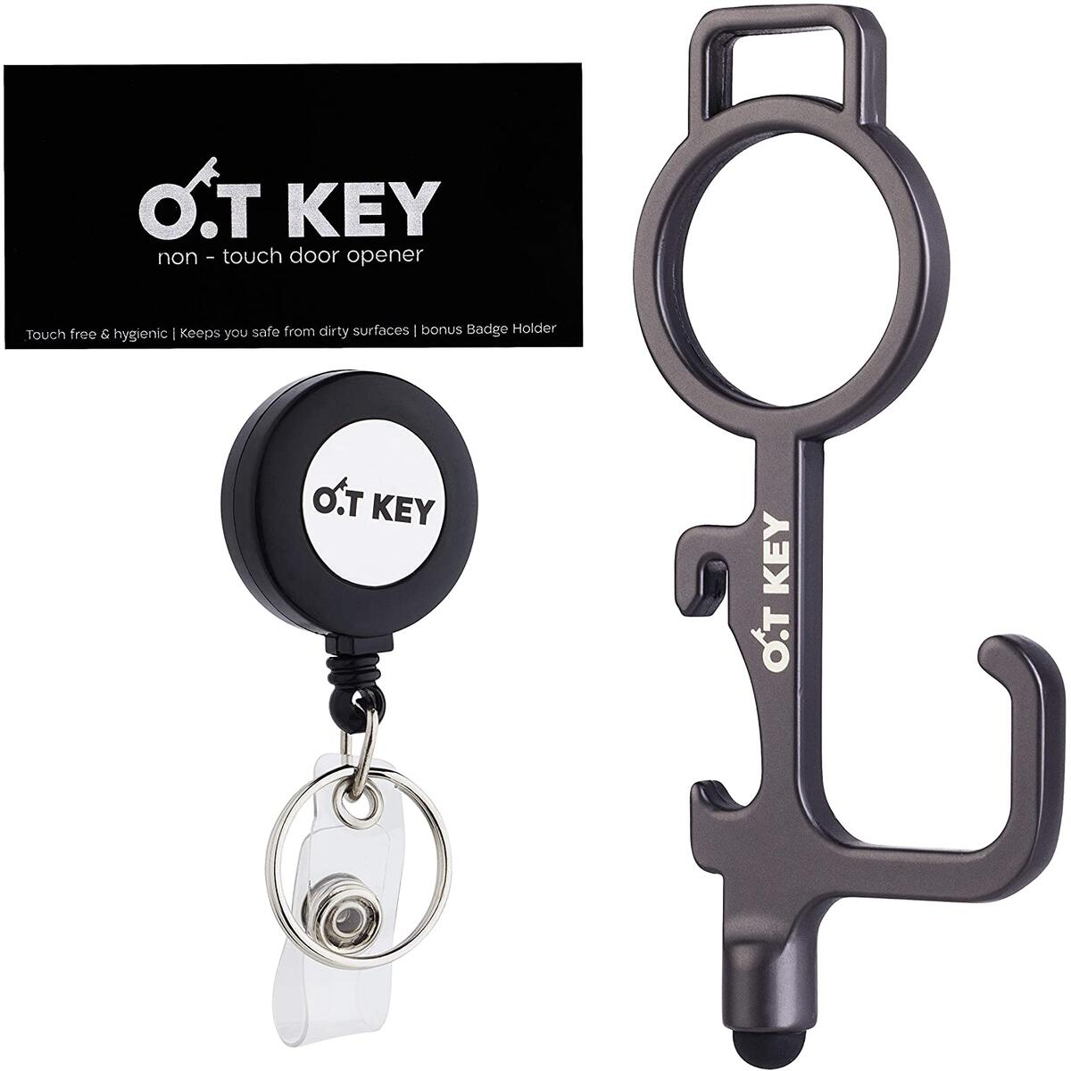 O.T Clean Key - No Touch Door Opener Tool & Stylus Button Pusher - Touchless Keychain Hand Tool for Safe Germ-Free Clean Hands - No Touch Tool for Handles, Buttons and More - Bonus Badge Holder Reel