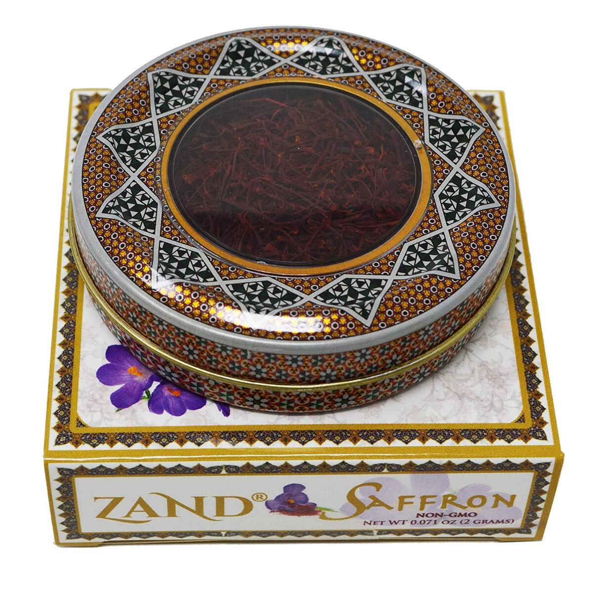 Zand Persian Saffron Threads – Premium Grade 1 Saffron Spice for Cooking Basmati Rice, Paella, Risotto and More – in Decorative Airtight Tin with Window Lid (2 Grams)