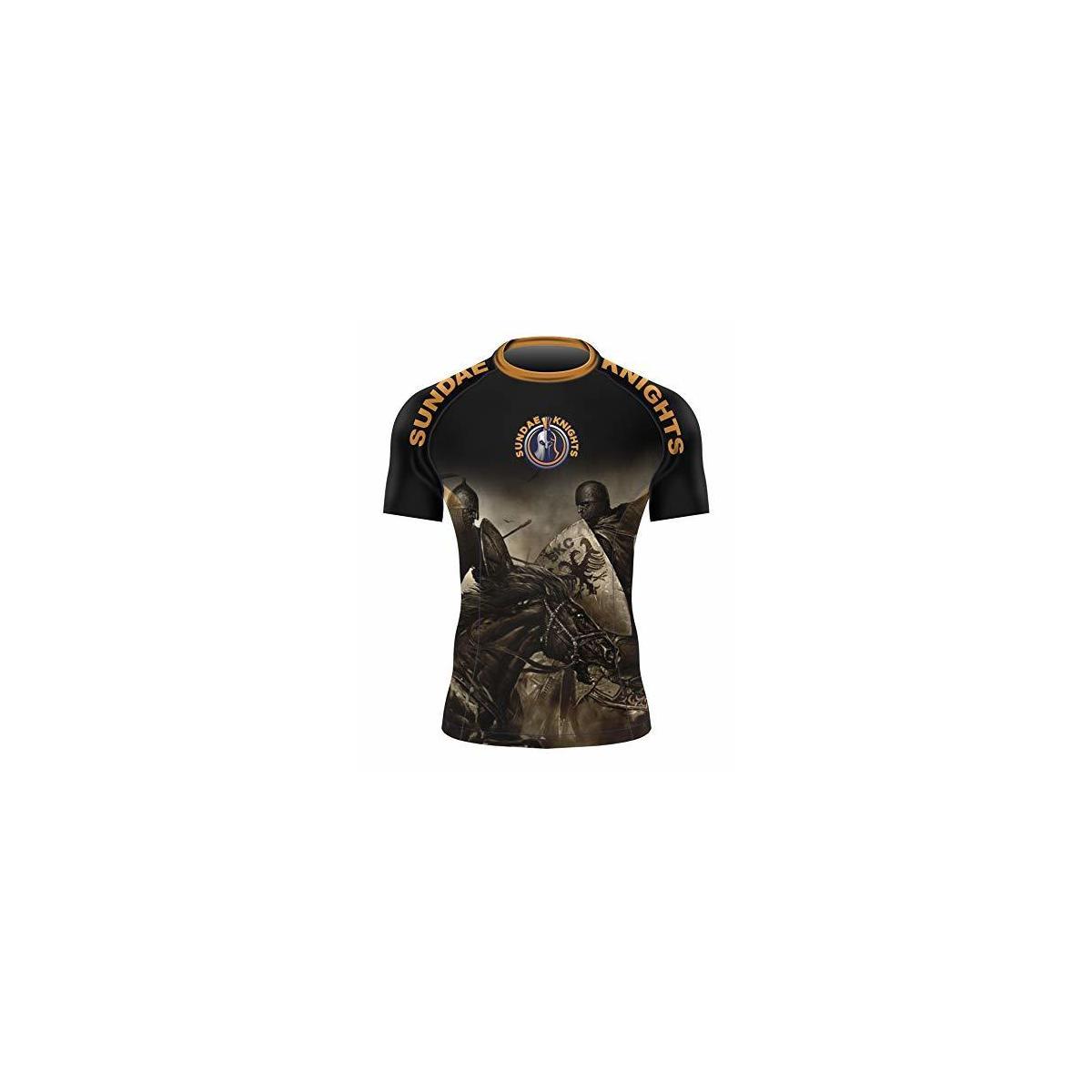 Warrior Edition Short Sleeve BJJ Rashguard, NoGi, Gi, Compression top Base Layer (Large) Black