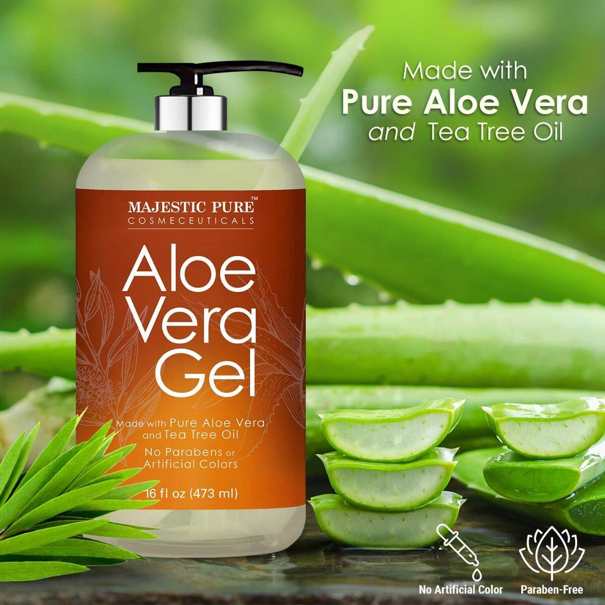Pure Aloe Vera Gel with Tea Tree Essential Oil - Moisturizes, and Nourishes Skin - Soothes Sunburn, Bites, Rashes, Small Cuts & Eczema - (Packaging May Vary) - 16 fl oz