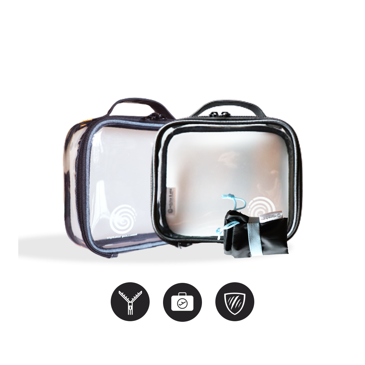 Clear Toiletry Bag for Traveling & Packing Cubes | Quart Size Pouch Size Pouchfor Makeup Essentials Toiletries for Men & Women | TSA Approved Organizer [ Set with FREE Shoe BAG ]
