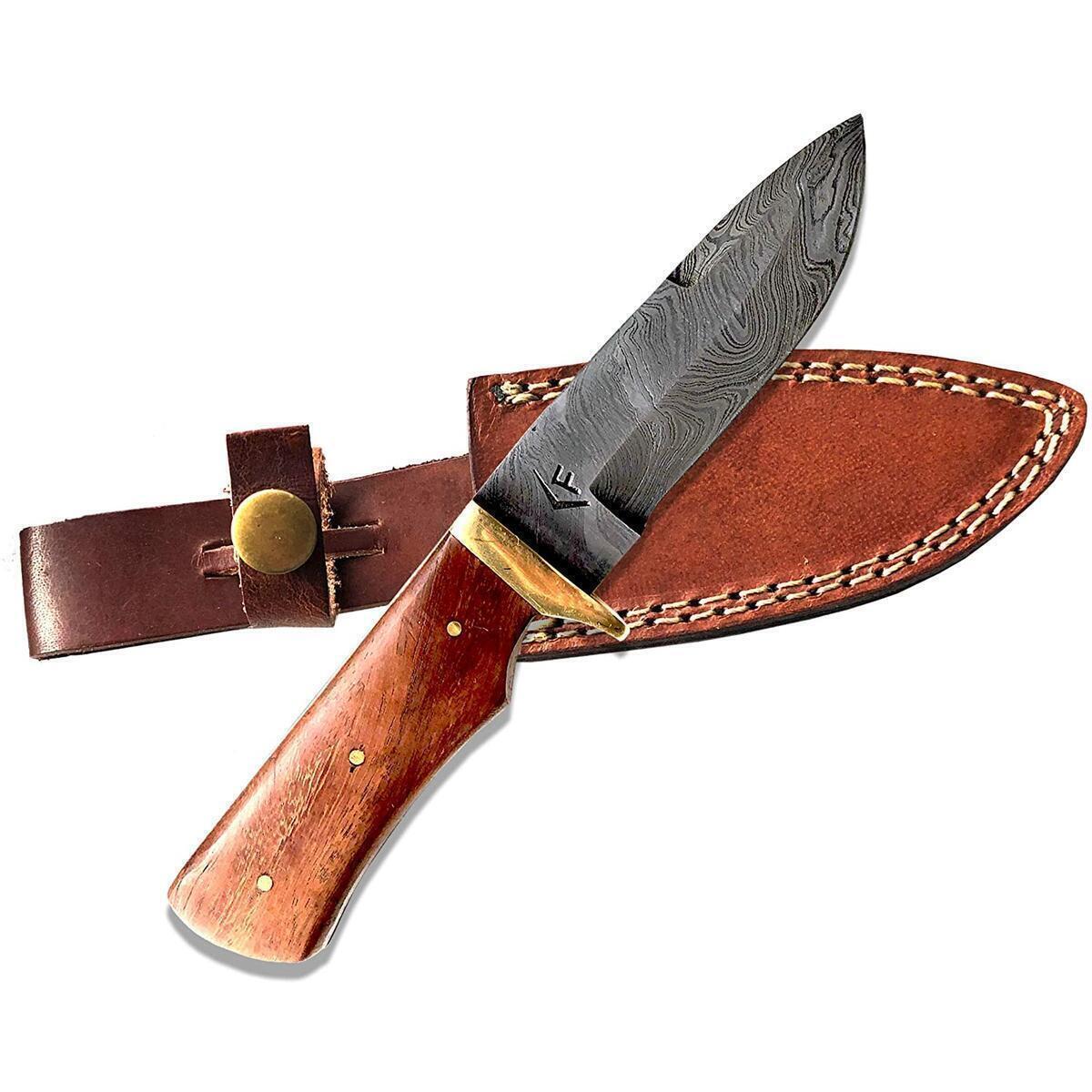 Fellmark Damascus Steel Hunting Knife with Sheath Kratt Scandi Grind Bushcrafting Knife 7.9
