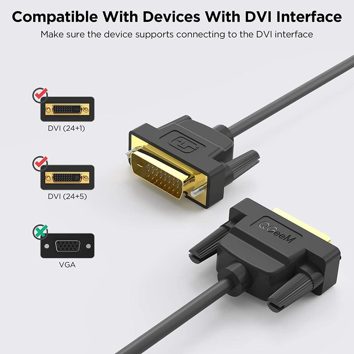 DVI to DVI cable 3FT, DVI-D 24+1 Dual Link Male to Male Digital Video Cable, Support 2560x1600 for Laptop, Gaming, DVD, Laptop, HDTV and Projector