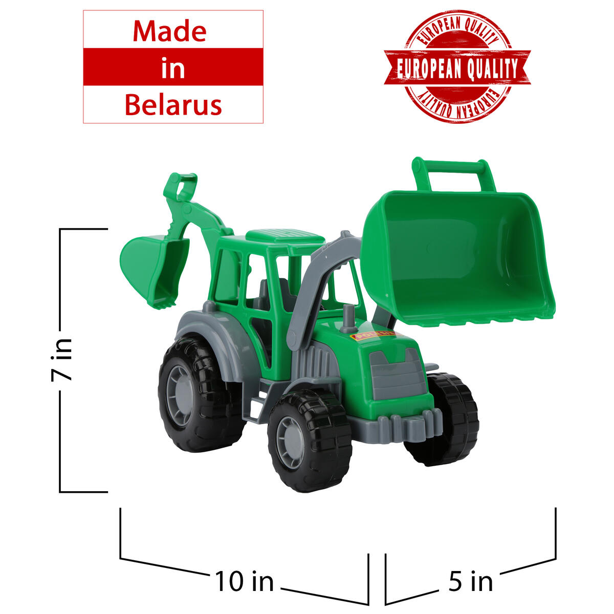 Excavator Toy for Boys - Backhoe Toy for Toddlers - Sand Digger for Kids by Polesie - Red