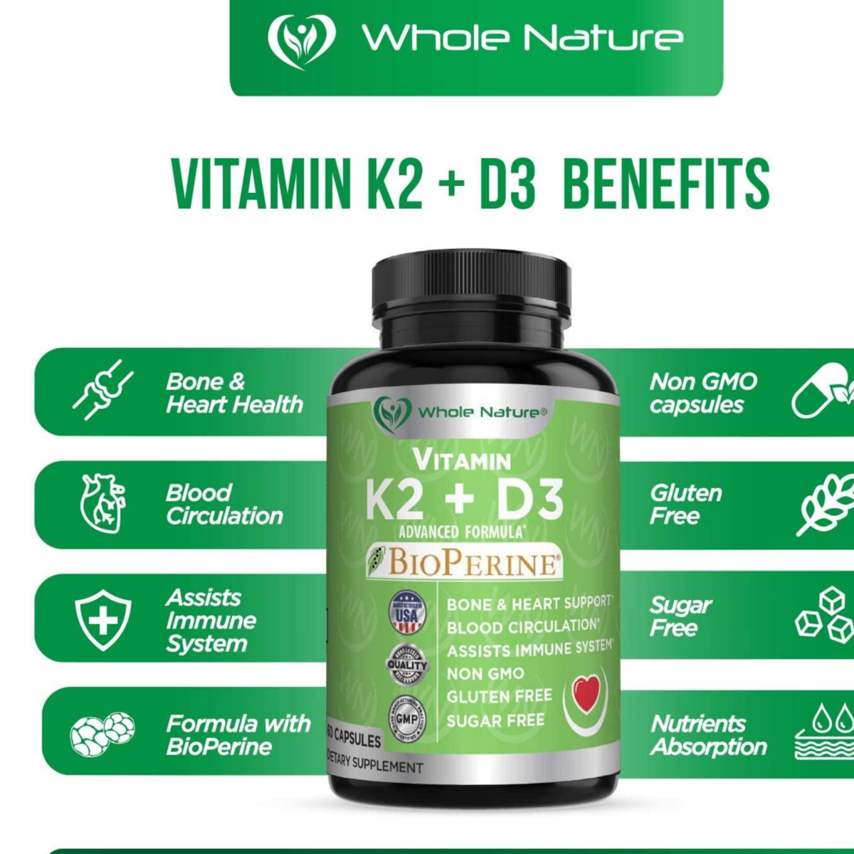 K2 D3 Vitamin Supplement with BioPerine - Vegan Calcium Supplements with Vitamins K and D