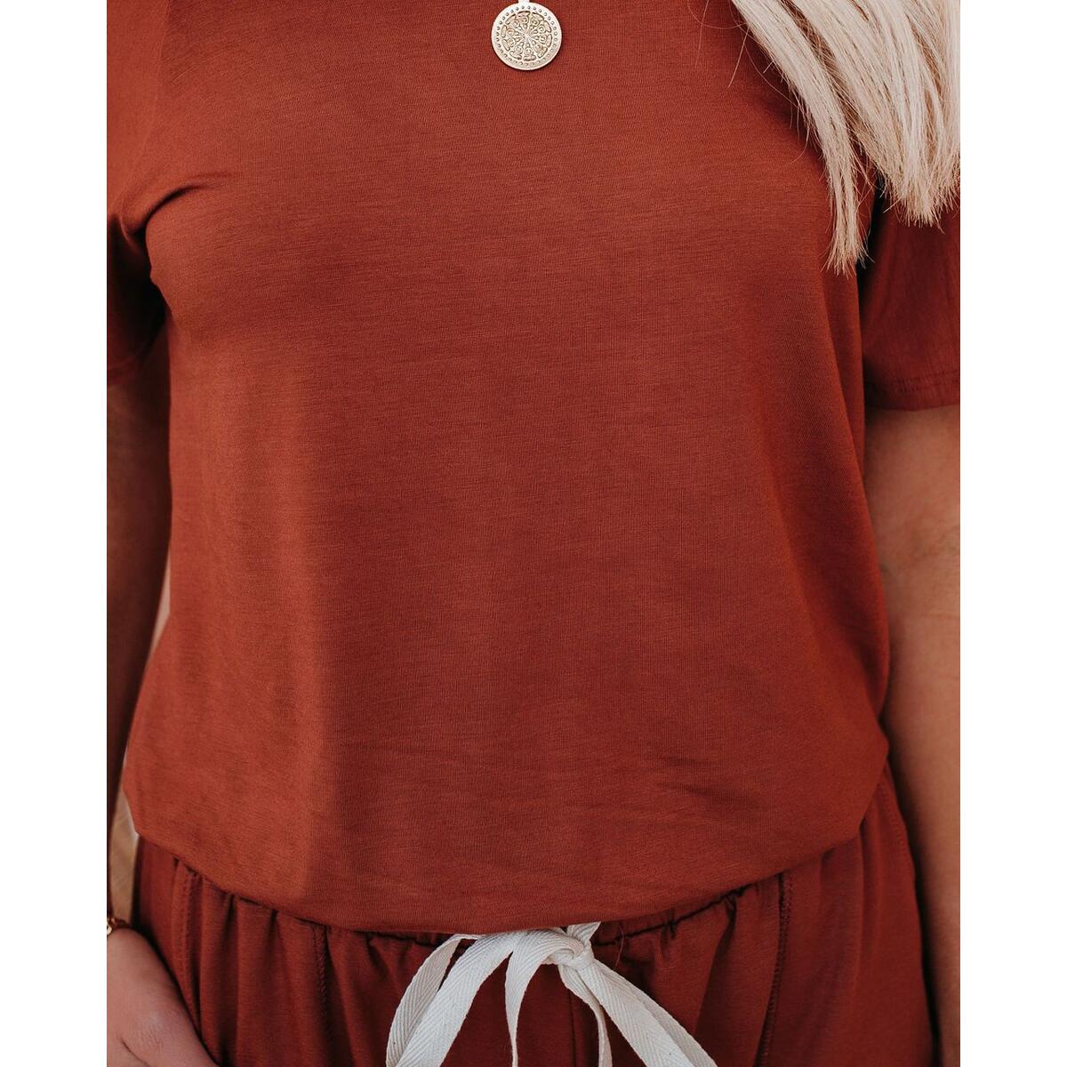 Women's Loose Fit Off Shoulder Elastic Waist Beam Foot Jumpsuit Rompers with Pockets Orange