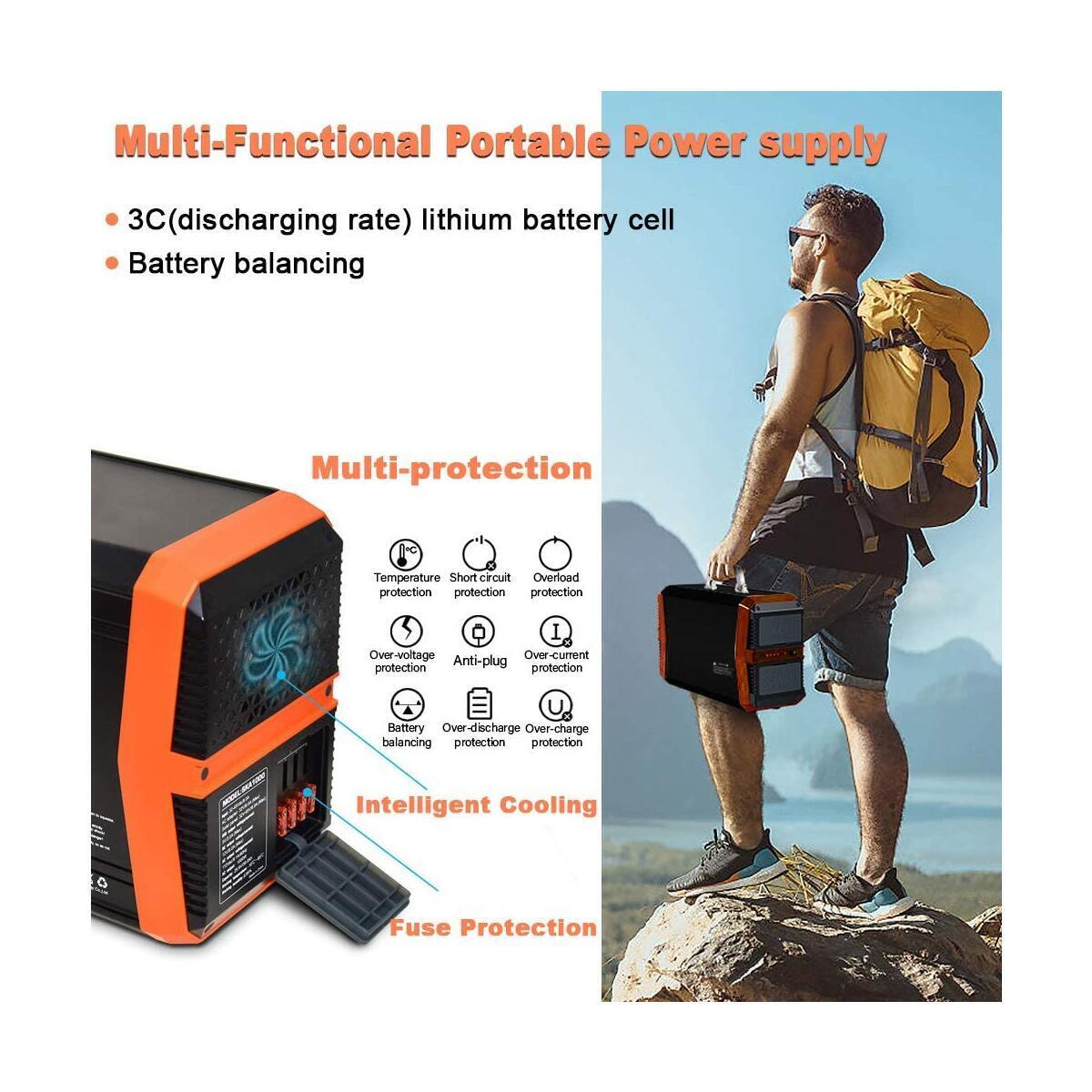 SUNGZU 1000 Watt Portable Power Station Solar Generator 1000W 1010Wh for Camping Home Outdoors CPAP Lithium Battery Solar Powered Generator with 2 110V AC Outlet 2 DC 4 USB