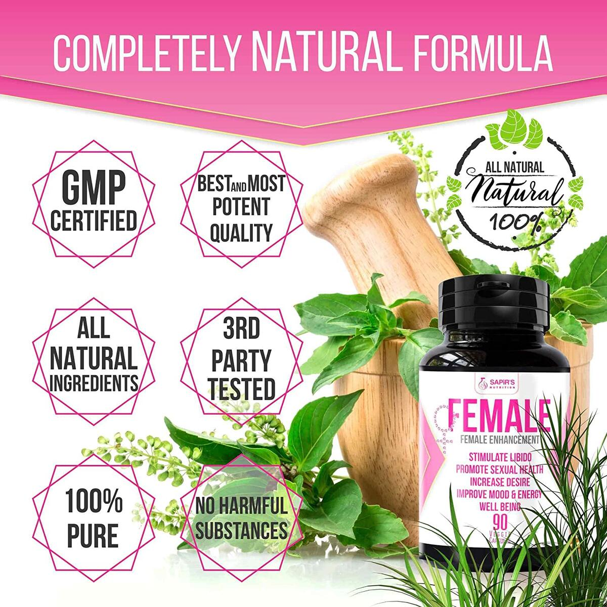 Natural Herbal Female Desire Supplement - Magic Pill for Women Testosterone Booster, Increase Stamina & Energy, Boosts Your Bed Drive & Prevent Dryness 100% Organic Women Supplements 90 Veggie Pill