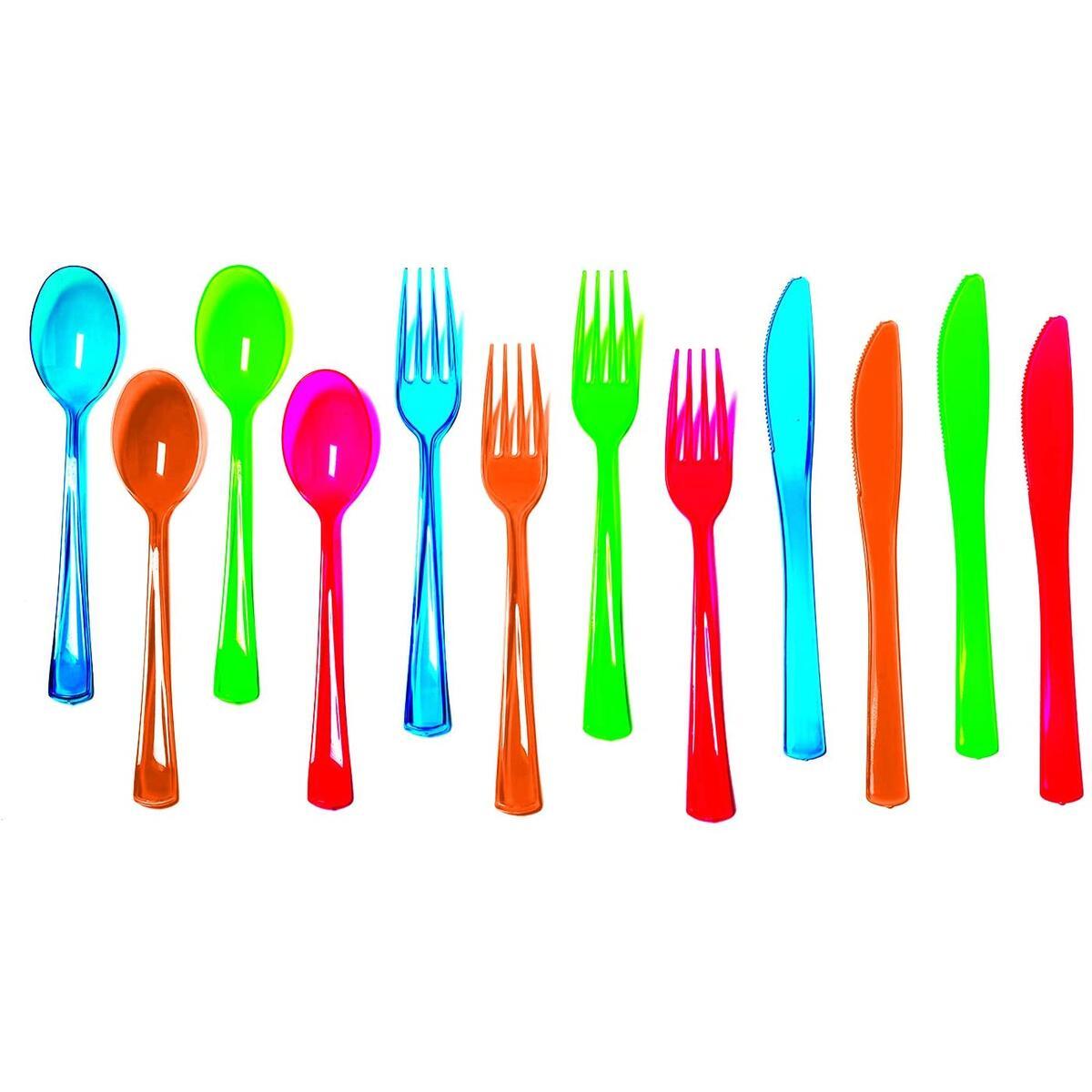 Grow in Dark Neon Heavy-Duty Hard Plastic Cutlery Combo Pack, 80 Place Settings