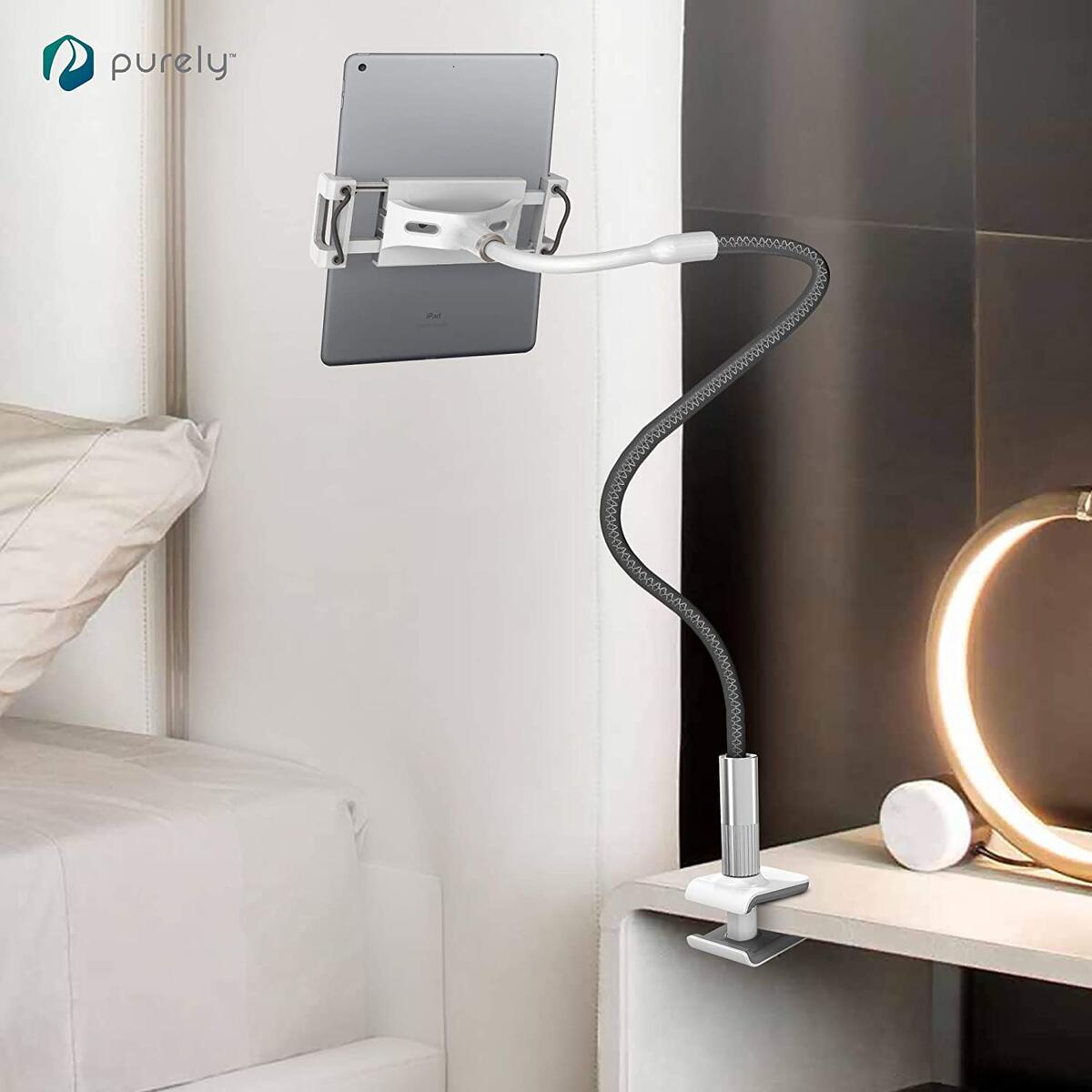 Deluxe Gooseneck Phone & Tablet Holder for Desk, Night Stand, Headboard - Gray
