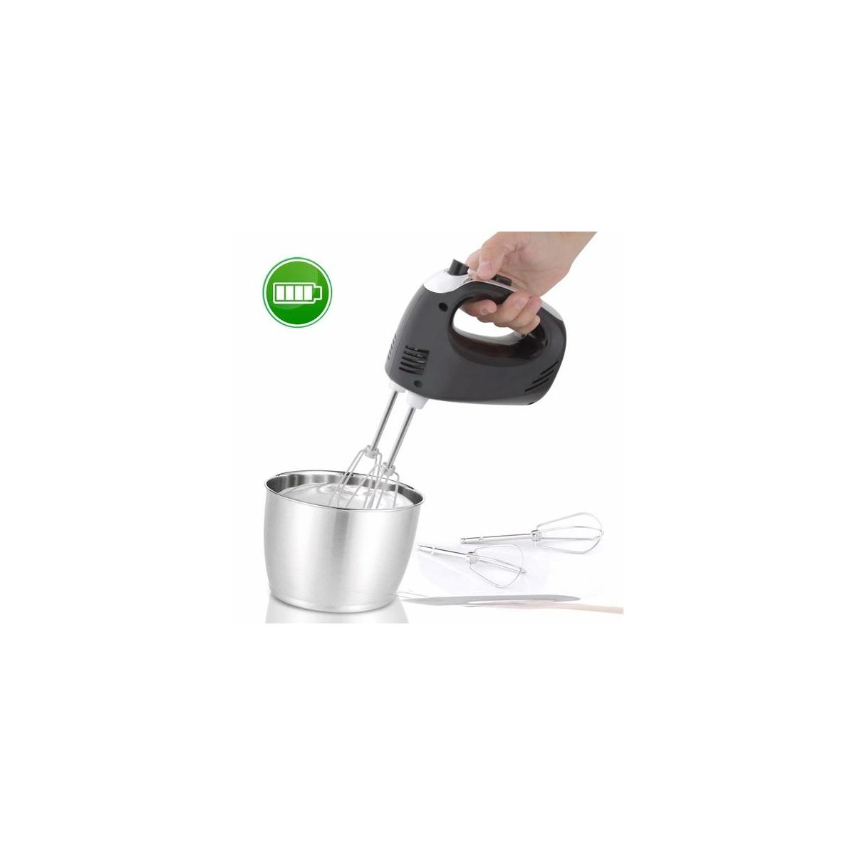 Electric Hand Mixer - Portable Egg Beater Small Whisk Cake Mixer, Rechargeable Batteries, 3 Speed Settings, Stainless Steel Beasters NutriChef PKHNDMX32