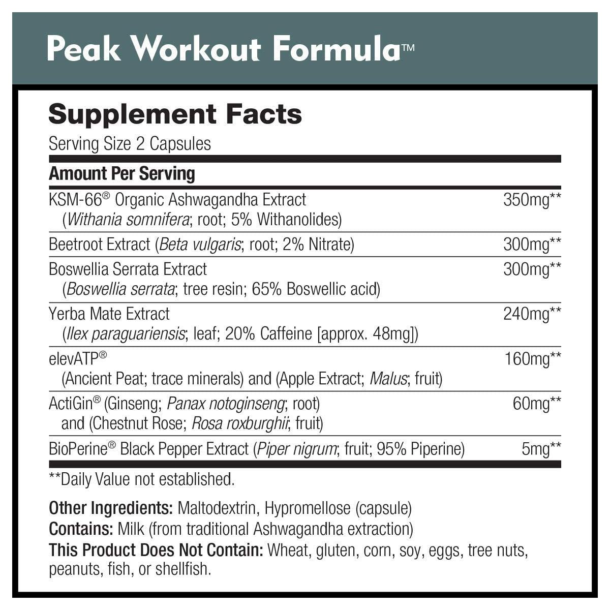 Peak Workout Formula by DailyNutra - Improved Motivation and Exercise Output   Pre-Workout and Recovery Supplement Featuring ActiGin, elevATP, Yerba Mate, Beet Root (90 Capsules)