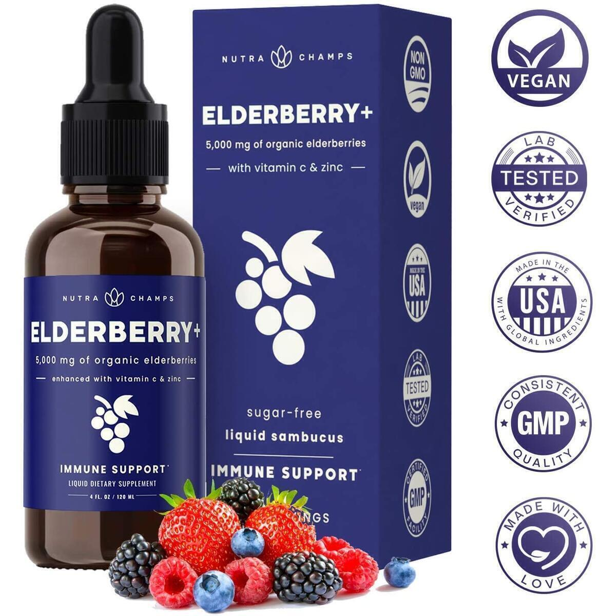 Organic Elderberry Syrup [5000mg Strength] Plus Zinc & Vitamin C Liquid Extract for Kids & Adults - Immune System Support - Vegan Sambucus Nigra Antioxidant Drops Supplement - Berry Flavor 2oz