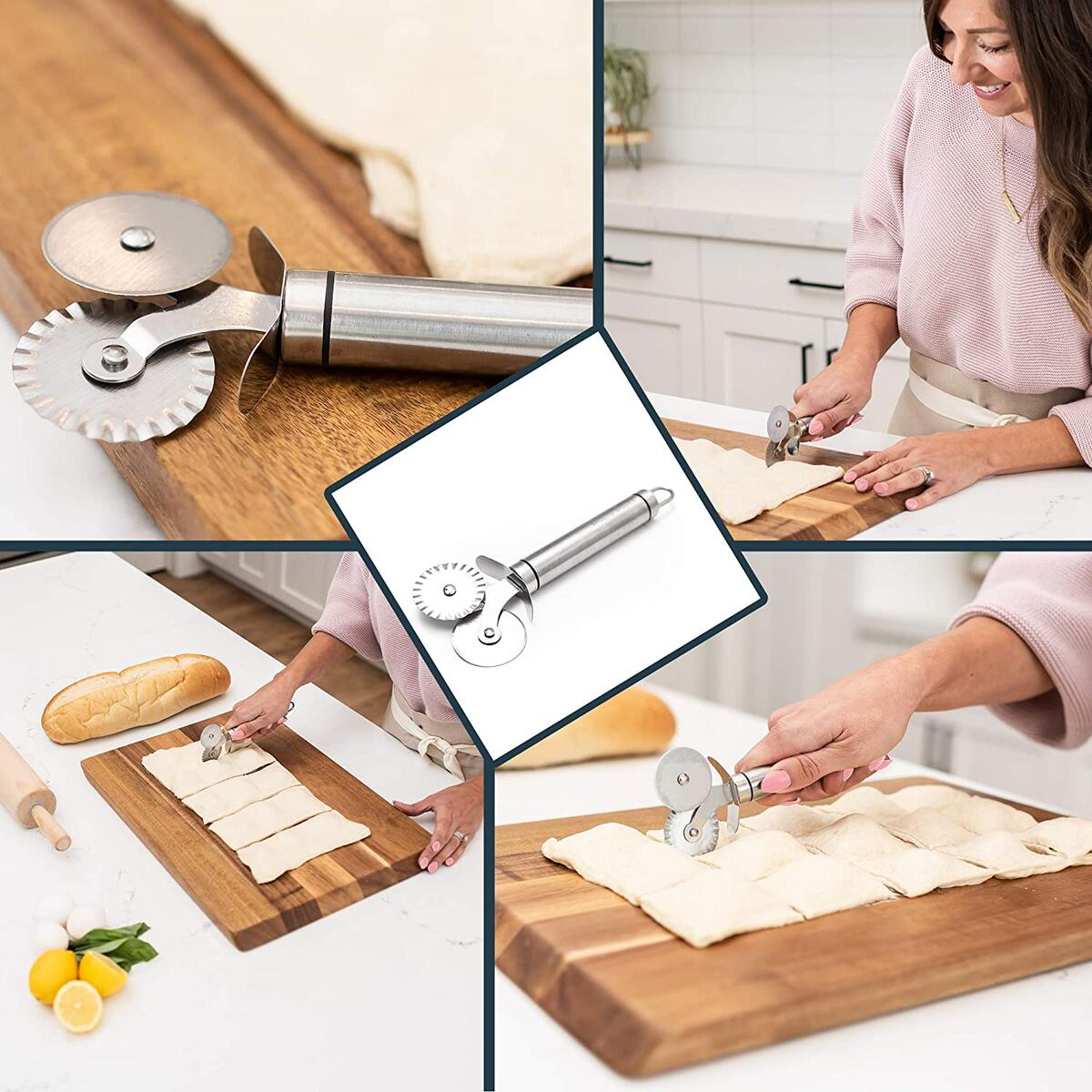 Molto Dolce 5 Wheel Pastry Cutter Set. 3pc Dough Cutter Kit with Accordian Cutter, Dual Ravioli Cutter Pizza Wheel, and Dough Scraper. Stainless Steel Brownie Cutter, Bench Scraper and Pasta Maker