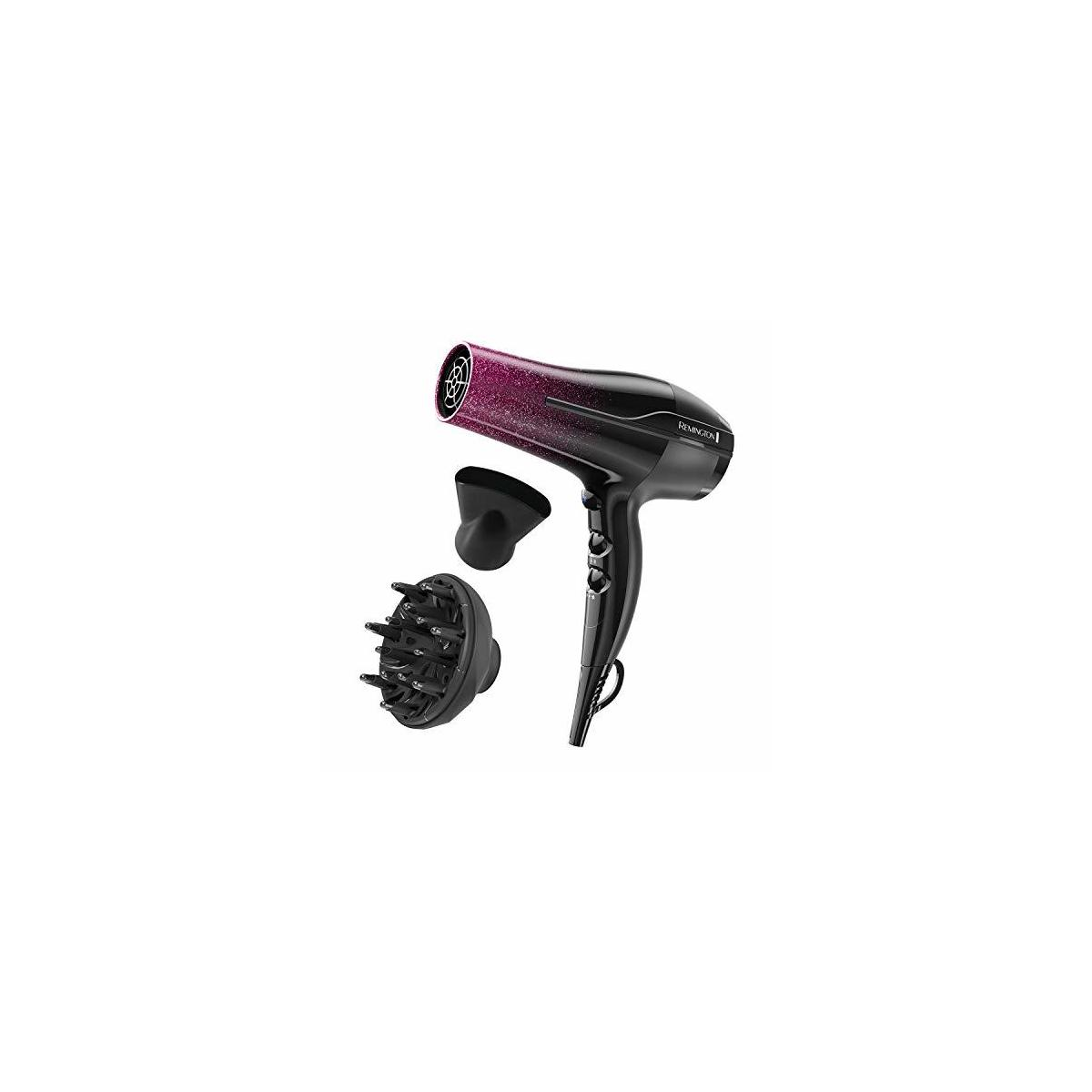 REMINGTON D5950 Ultimate Smooth Dryer, 3 Heat + 2 Speed Settings + Cool Shot, Black/Purple