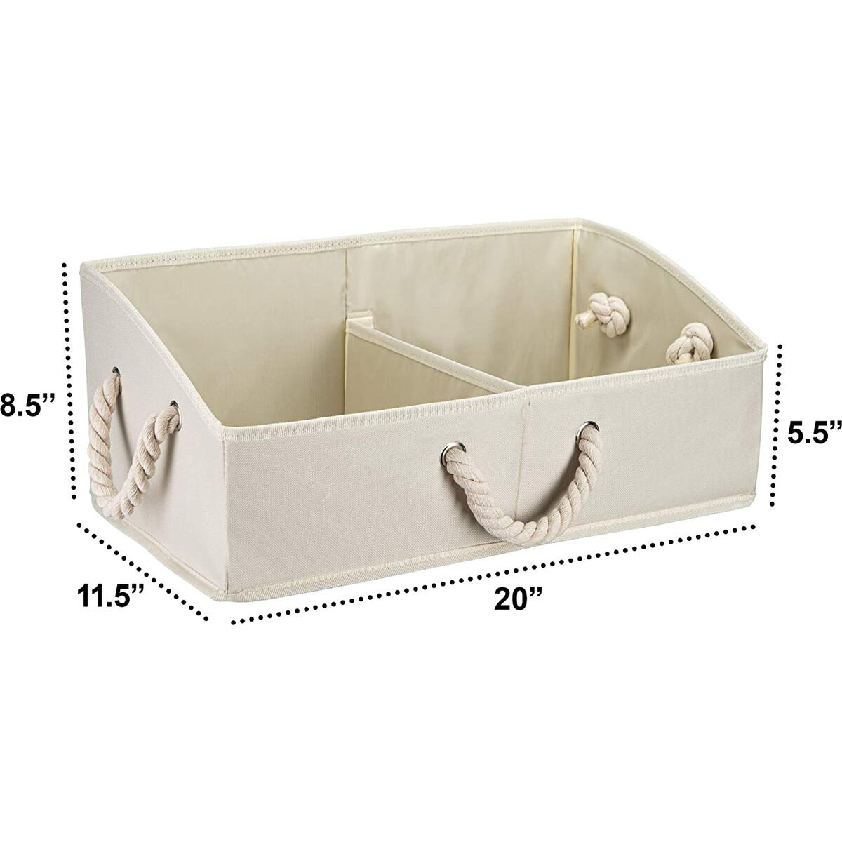 Organize Star Storage Bin-Set of 3 Large Decorative Foldable Fabric Trapezoid Basket with Cotton Rope Handle, Removable Divider, Collapsible Boxes for Closet, Shelves, Clothes Baby Toys Linen