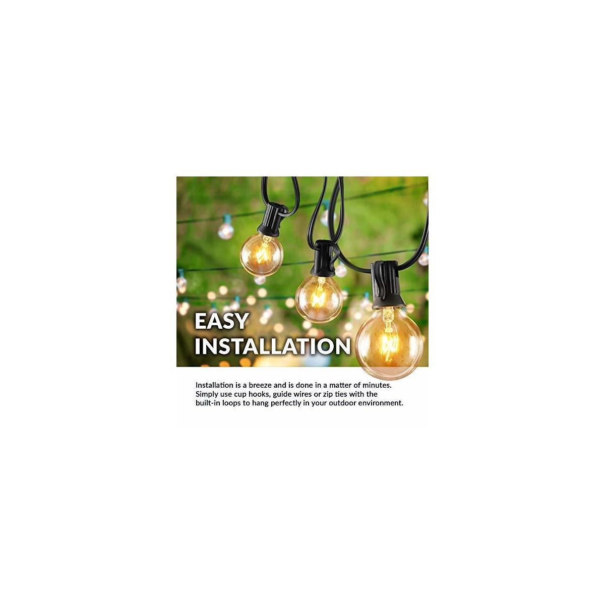 Newhouse Lighting PSTRINGINC50 Foot 50 Socket Indoor/Outdoor String 55 Incandescent Globe G40 (5 Free Bulbs Included), Wedding Lights, Decorations for Patios, Porches, Backyards, Decks, Bistros, 50ft