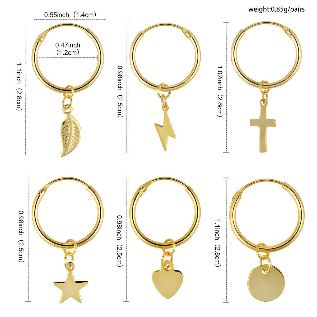 YeGieonr Small Dangle Hoop Earrings-Star Hoop Earrings -925 Sterling Silver with 14k Gold Plated,Minimalist Dainty Huggie Hoop Earrings with Tiny Charms For Women/girls/teens
