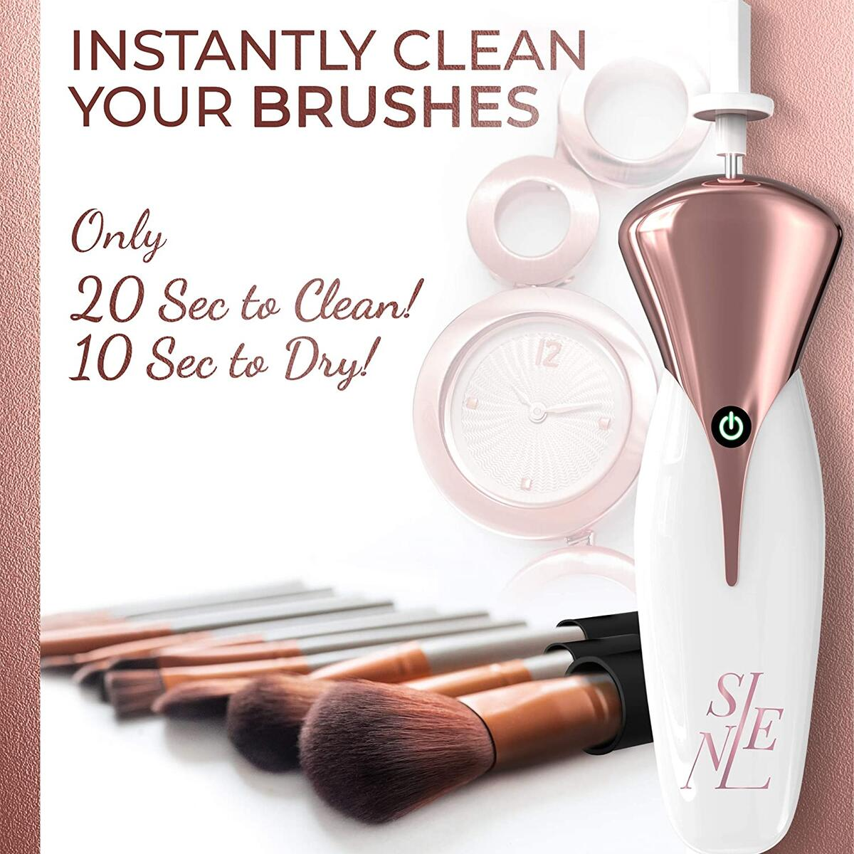 Makeup Brush Cleaner & Dryer Machine | Automatic Spinner to Wash & Dry Brushes in Seconds | 13 Collars to Fit Any Makeup Brush – Save Money & Increase the Longevity of Your Brushes