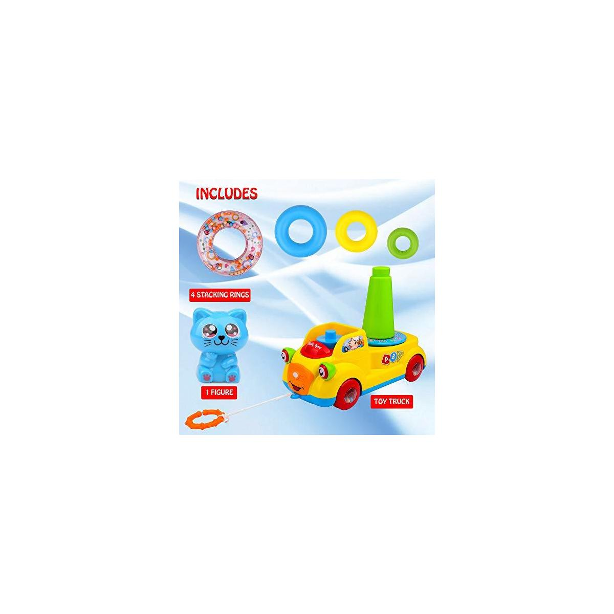 Playkidz Stackable Rings and Pull Along Toy Bus for Toddlers - Sensory and Educational Toy for Girls and Boys Ages 3+, Great Birthday Gift